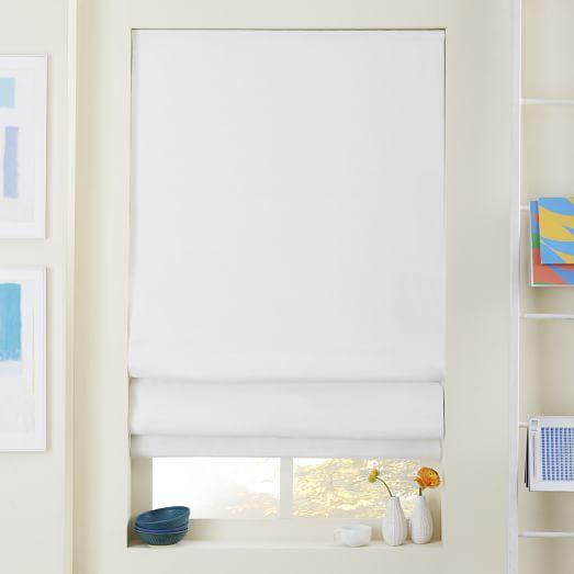 linen cotton roman shade blackout liner white west elm. Black Bedroom Furniture Sets. Home Design Ideas