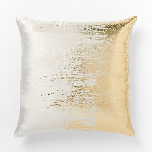 Faded Metallic Texture Pillow Cover - Gold west elm