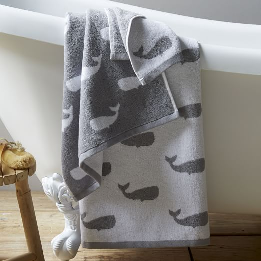 Whale Jacquard Towels West Elm
