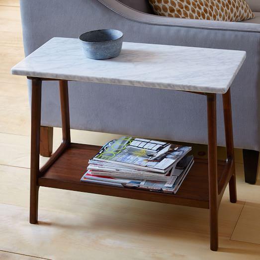 Reeve Mid Century Side Table Marble West Elm