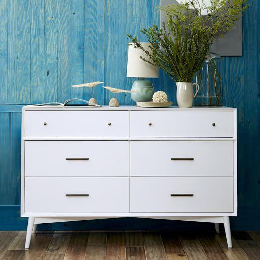 mid century 6 drawer dresser white west elm. Black Bedroom Furniture Sets. Home Design Ideas