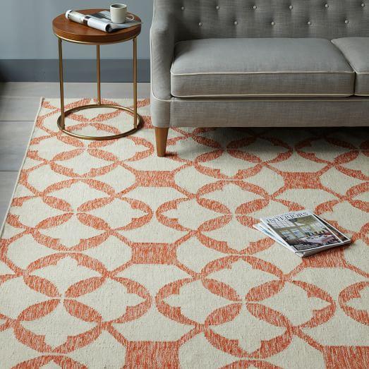 West Elm Wool Rug: Tile Wool Kilim Rug - Mandarin