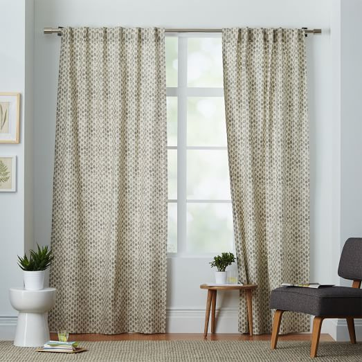 Cotton Canvas Black Eyelet Lined Curtain: Cotton Canvas Stamped Dots Curtain - Platinum