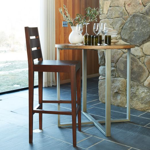 Rustic round counter table west elm for Rustic round kitchen table