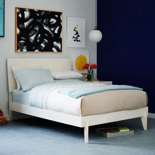 Angled-Leg Bed - White