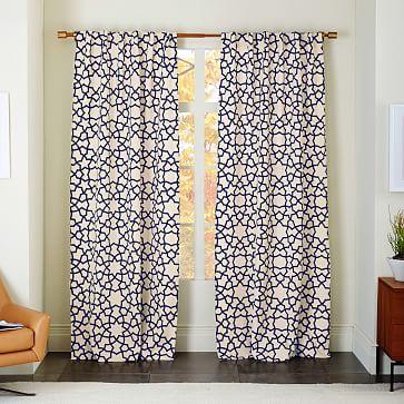 Cotton Canvas Scribble Lattice Curtain West Elm