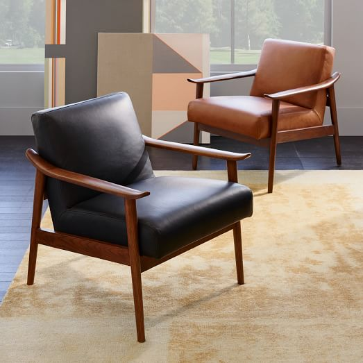 Mid-Century Leather Show Wood Chair