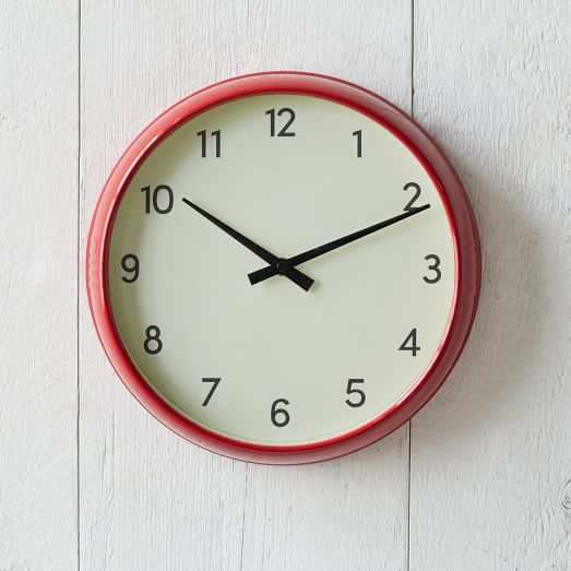 basic wall clock red west elm