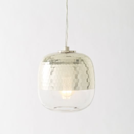 Honeycomb Pendant Light: Metallic Honeycomb Glass Pendant - Round