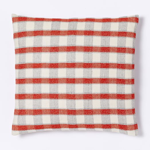 Hand-Loomed Silk Checker Striped Pillow Cover - Cayenne