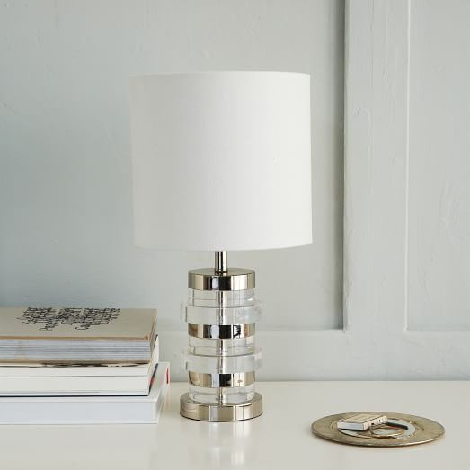 clear disc table lamp small polished nickel white linen west elm. Black Bedroom Furniture Sets. Home Design Ideas