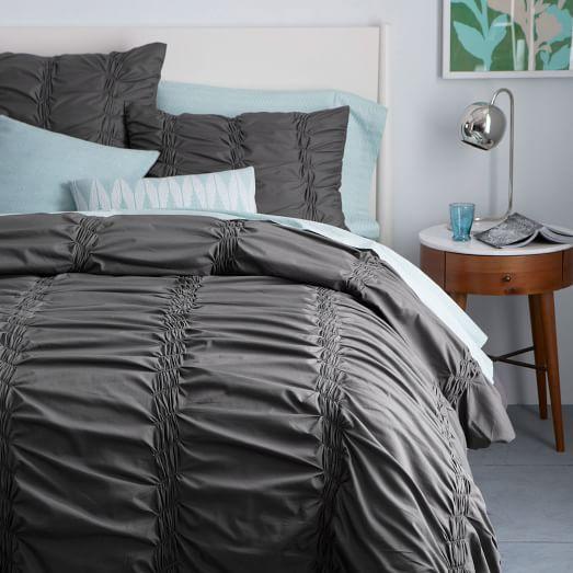 organic smock pleated duvet cover shams west elm. Black Bedroom Furniture Sets. Home Design Ideas