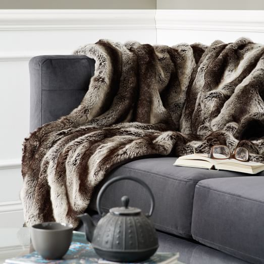ombre faux fur throw gray west elm. Black Bedroom Furniture Sets. Home Design Ideas