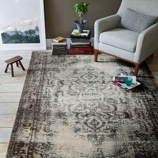 Distressed Arabesque Wool Rug Steel West Elm