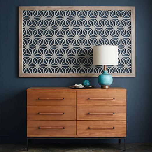 Framed Handmade Paper Wall Art - Gray Star