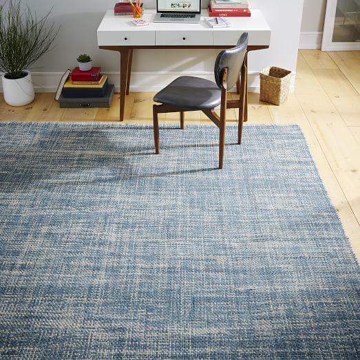 Mid Century Area Rugs: Mid-Century Heathered Basketweave Wool Rug