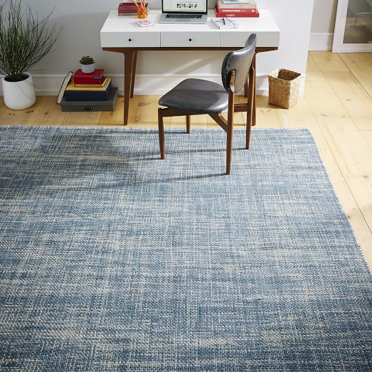Mid Century Modern Rug: Mid-Century Heathered Basketweave Wool Rug