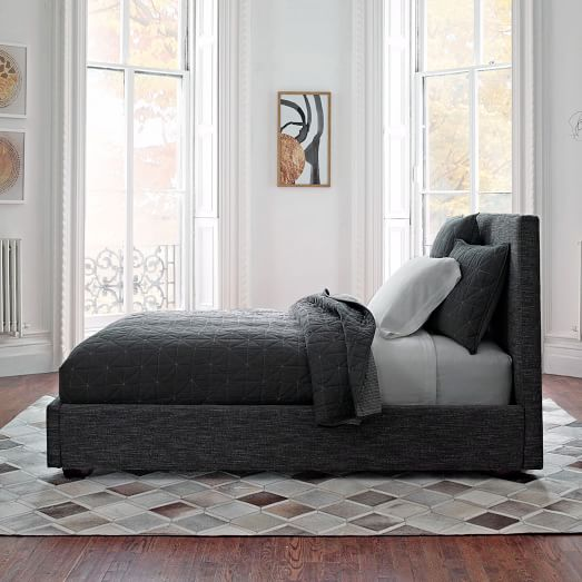 Contemporary Bed - Heathered Tweed