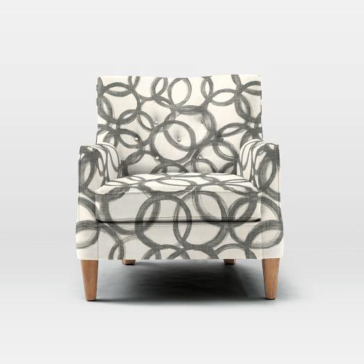 Livingston Chair, Brushstrokes, Gray/Ivory