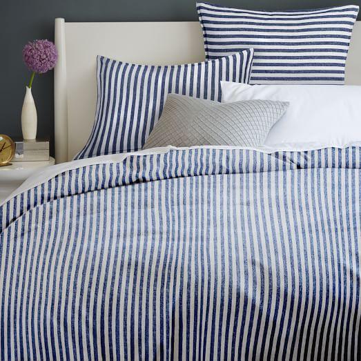 Flannel Stripe Duvet Cover Shams West Elm