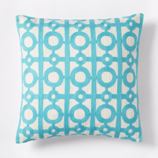 Crewel Circle Lattice Pillow Cover - Bright Turquoise west elm