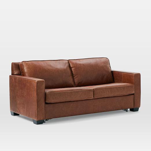 Henry Pull Down Leather Sleeper Sofa Full Tobacco