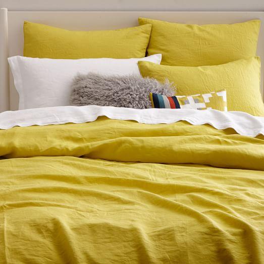 Belgian Flax Linen Duvet Cover + Shams - Citrus Yellow | west elm