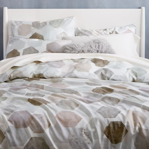 Organic Geo Sateen Duvet Cover Shams West Elm
