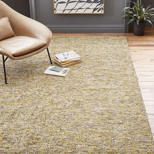 Cosy Textured Wool Rug: Looped Texture Wool Rug - Citrus Yellow