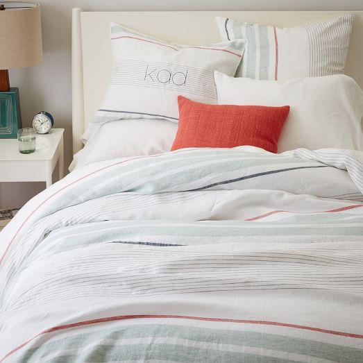 belgian flax linen crisp stripe duvet cover shams west elm. Black Bedroom Furniture Sets. Home Design Ideas