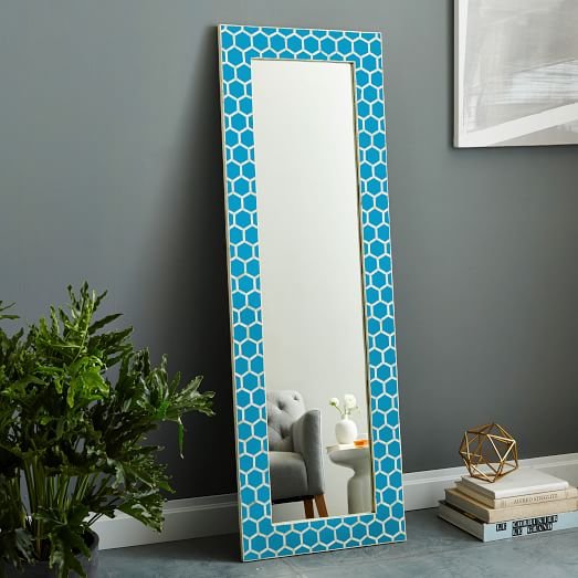 Bone Inlay Floor Mirror - Turquoise