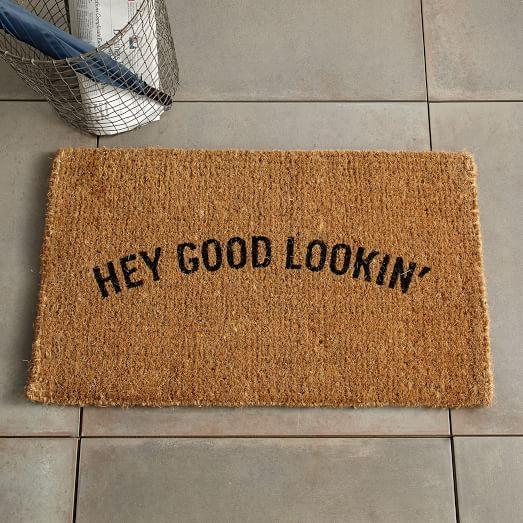 Hey Good Lookin Coir Doormat West Elm