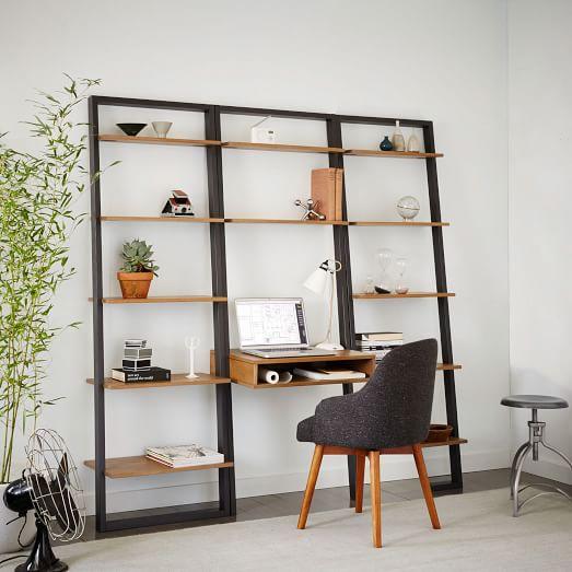 Ladder Shelf Desk Wide Bookshelf Set