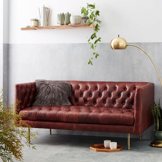 modern chesterfield leather loveseat west elm. Black Bedroom Furniture Sets. Home Design Ideas