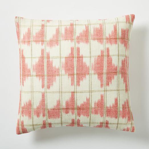 Ikat Grid Pillow Cover - Poppy