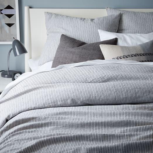 Striped Belgian Flax Linen Duvet Cover Shams
