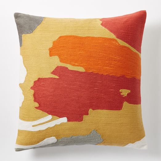 Modern Crewel Pillow : Modern Brushstroke Crewel Pillow Cover - Horseradish west elm