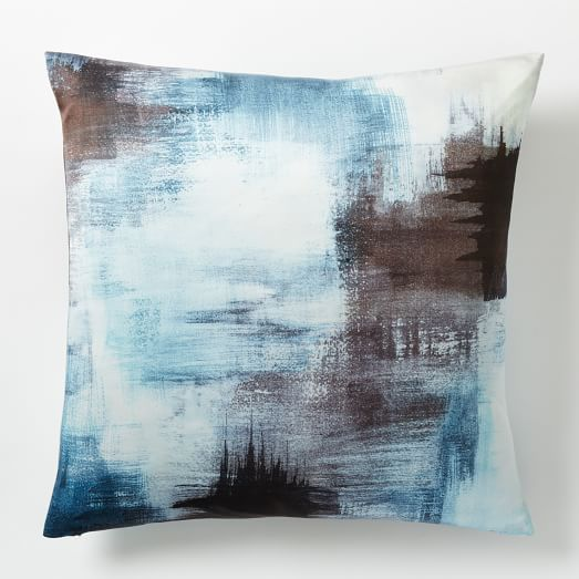 Painterly Texture Pillow Cover - Blue Teal