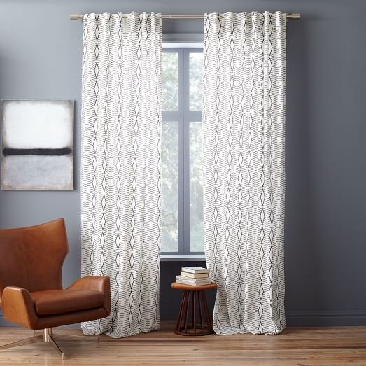 Cotton canvas diamond stripe curtain stone white slate west elm - Epic window treatment decoration with slate blue curtain ...