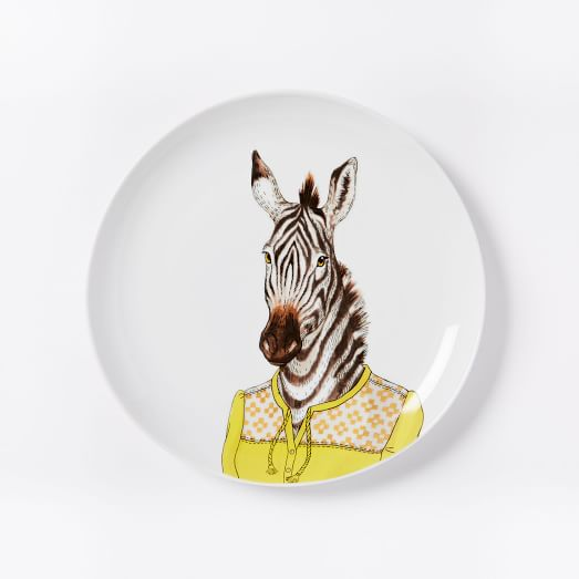 Dapper Animal Salad Plate, Zebra