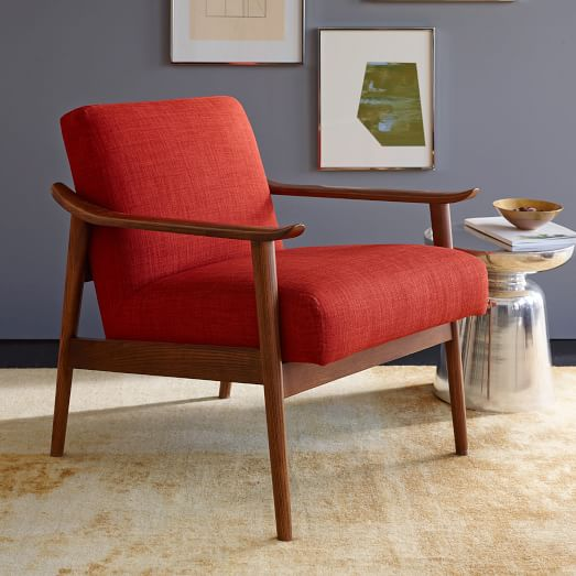 Mid century show wood upholstered chair west elm for Mid century modern upholstered chair