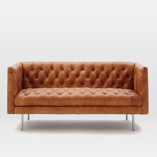 Modern Chesterfield Leather Loveseat West Elm