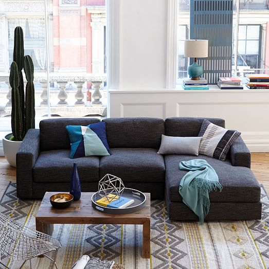 Urban 2 piece chaise sectional west elm for Decoracion de living chicos