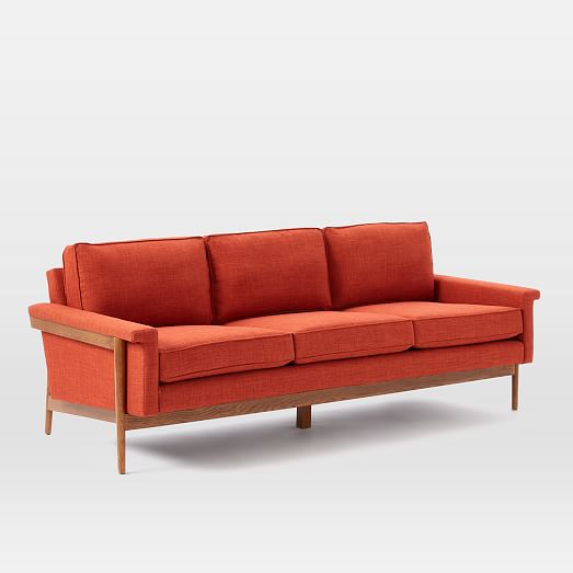 Wooden Sofa With Cushions ~ Leon wood frame sofa west elm