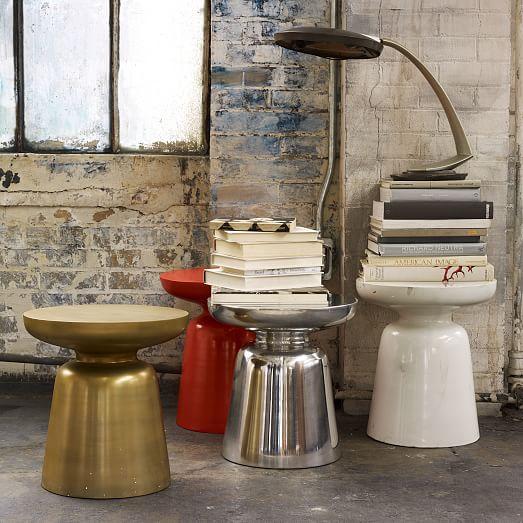 martini side table silver west elm. Black Bedroom Furniture Sets. Home Design Ideas