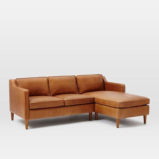 Hamilton 2 Piece Leather Chaise Sectional Tan West Elm