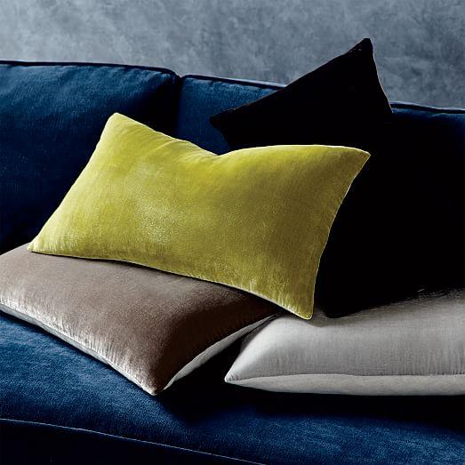 luxe velvet lumbar pillow cover black west elm. Black Bedroom Furniture Sets. Home Design Ideas