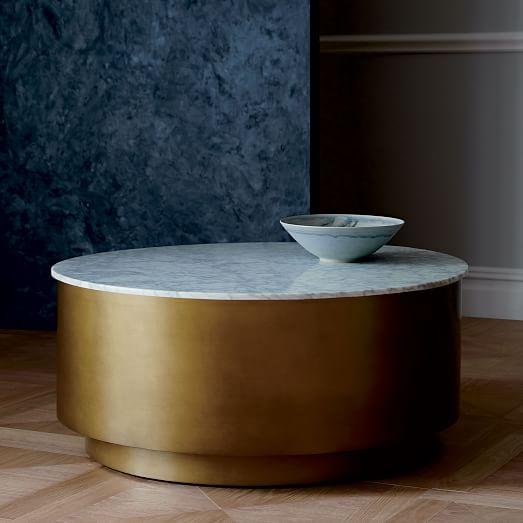 West Elm Stone Top Coffee Table: Marble + Metal Drum Coffee Table