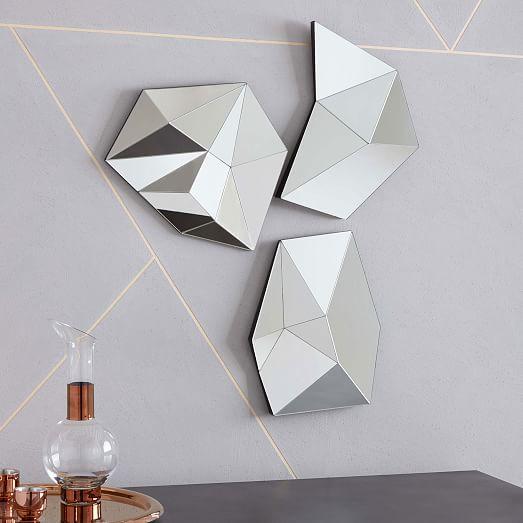 3D Faceted Mirrors west elm