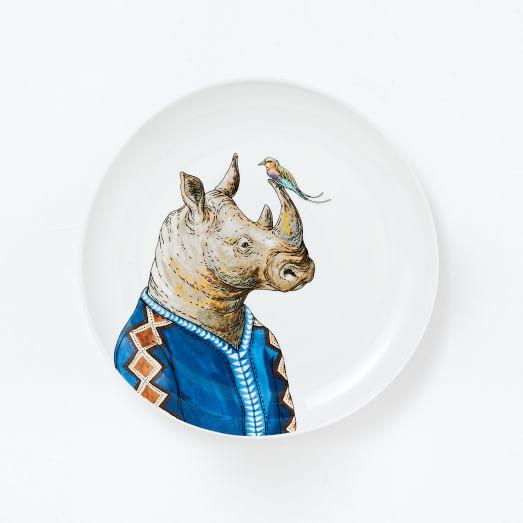 Dapper Animal Salad Plate, Rhino
